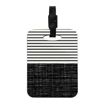 "Trebam ""Platno (with Black Stripes)"" Black White Decorative Luggage Tag"