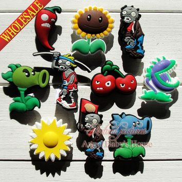 Novelty 20pcs popular game Plants VS zombies shoe charms/Decorations/accessoriess Fit for wristbands Croc JIBZ kids party favors