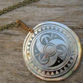 Crop Circle Necklace, Mother Of Pearl Pendant Necklace, Sacred Geometry BRONZE Wire Wrapped Necklace, Greek Key Pattern, Choose Length, CCB1