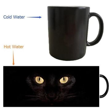 Color Changing Black Cat Heat Reveal Coffee Mug / Coffee Cup