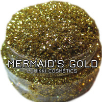 Mermaid's Gold GLITTER 5 Gram Full Size Jar Green Gold Pure Bright Magical Golden Green Glitter Collection Lumikki Cosmetics