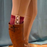 rose knee high sick sewn with lace & gold accent, malted brown buttons, and white flowers