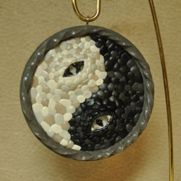Yin Yang Dragon Eye Ornament, OOAK, Handmade Dragon Sculpture, Dragon Eye One of a Kind Black & White Dragons Dual Dragon Christmas Ornament