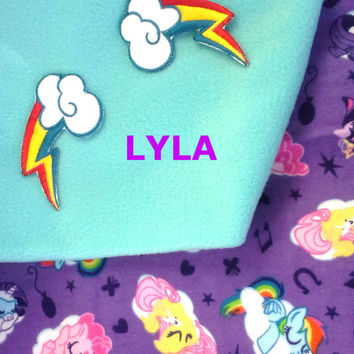 My Little Pony Inspired Fleece Baby/toddler-Kids Blanket -  Rainbow Dash - Pinkie Pie -Personalized