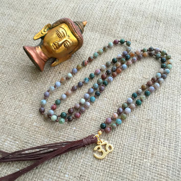 108 Mala Bead Necklace,Indian Agate Necklace,Gold Om Necklace,Leather Necklace,Prayer Necklace,Yoga Jewelry,Meditation Necklace,Boho Jewelry
