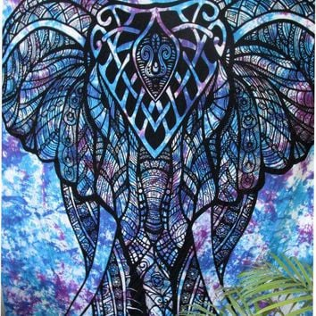 DCCKJG2 Indian Printed Elephant Mandala Tapestry Throw Hippie Tapestry Hanging Decorative Wall Tapestries 210X150Cm Drop Shipping