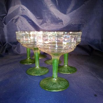 Iridescent Ribbed & Banded Green Stem Champagne Glasses