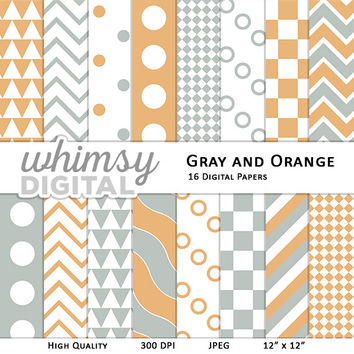 Gray and Orange Digital Paper with Stripes, Waves, Chevron, Polka Dots, Checkers, and Triangles in shades of Orange, Gray, and White