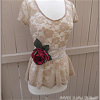 Women's Romantic Shabby Chic Shirt with Vintage Lace Rose Belt Junior's Top