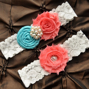 Wedding Garter Set, Bridal Garter Set - Lace Garter, Rolled Silk Aqua Tiffany Blue, Shabby Coral Wedding Garter, You Design / Pick Colors