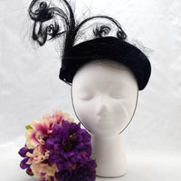 Vintage Caspar Davis Fascinator Hat, Black Velour with Tall Plume, Beret Style , circa 1950s