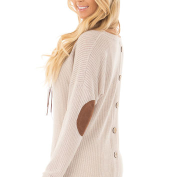 Taupe Sweater with Suede Elbow Patches and Button Back