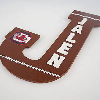 Hand Painted Personalized Brown Football Color Themed Wooden Wall Letter with Sports Team Logo Soccer Baseball Basketball
