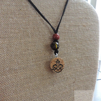 Wine jewelry Real cork Adjustable necklace Fun gift ideas (N010)