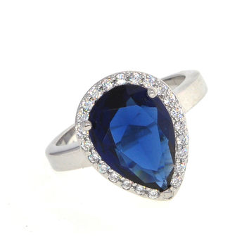 Dear Deer White Gold Plated Blue Sapphire Teardrop Cubic Zirconia Cooktail Ring