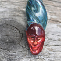 Hot Head Pendant . Sculpted Glass Head . Blown Glass Face Pendant