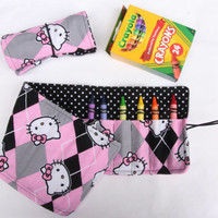 Crayon Roll Hello Kitty, Black, Pink, Polka Dot Crayon Holder, Birthday Party Favor, 16 Crayola Crayons Included