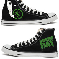 Green Day Warning Handpainted Converse Shoes