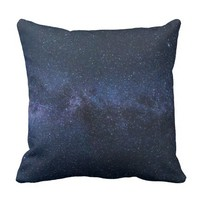 Stars Night Sky Midnight Blue & Black Milky Way Throw Pillow