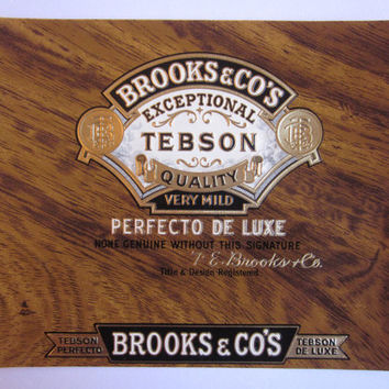 Vintage Original Cigar Label (1) Brooks & Co's Seal Wonderful Faux Wood 'Perfecto De Luxe' New Old Stock NOS for Decoupage or Ready to Frame