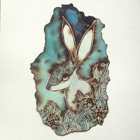 Pyrography Art (Paper Burning) with watercolour - Hare drawing in Blue / Turquoise made in UK. Hare art, Hare Painting, Moon Gazing Hare,