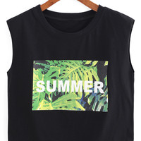 Black Leaves Letter Print Sleeveless Cropped Tank Top