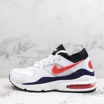 Nike Air Max 93 Og Flame Red White/habanero Red-neutral Indigo-black Running Shoes