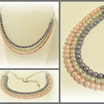 Pink, Ivory and Purple Layered Pearl Necklace - Statement Necklace - Wedding Jewelry - Spring or Summer Colors - Prom Jewelry