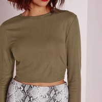 Missguided - Ribbed Long Sleeve Crop Top Khaki