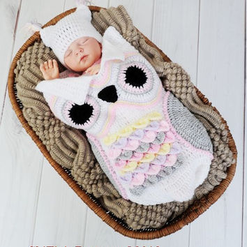 Baby Crochet Pattern Cocoon, Papoose, Hat Owl Crochet Pattern 3 Sizes DIGITAL DOWNLOAD 245