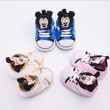 Fashion Cartoon Minnie Newborn Baby Infant Toddler Girls Princess Boys First Walkers Sports Sneakers Crib Babe Soft Soled Shoes