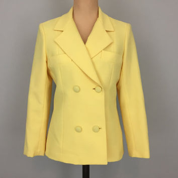 Vintage 70s Jacket Blazer Designer Lilli Ann Double Breasted Jacket Bright Yellow Suit Jacket Size Small 1970s Womens Vintage Clothing