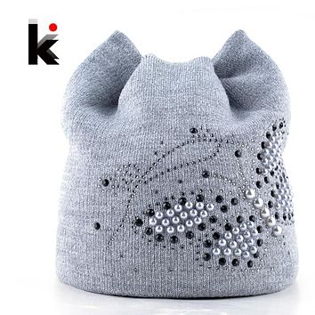 Winter Cat Beanie Hat Ladies Knit Hats For Women Beanies Caps Pearls Butterfly Diamond Beanie Touca Knitted Cap With Ear Flaps