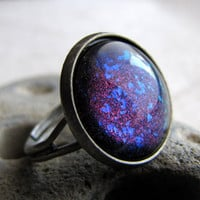 Blue Volcano Glitter Ring in Antiqued Silver by AshleySpatula