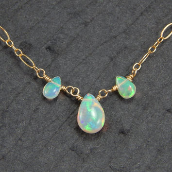 African fire opal necklace, 22 ct gold filled necklace, 3 stone necklace, wire wrapped stones