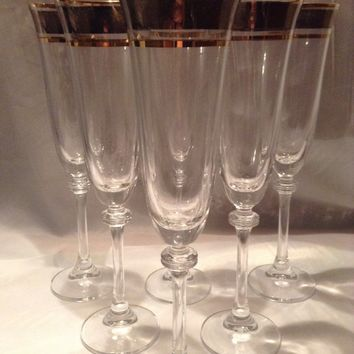 "Czech Cut Bohemia Glass - Cut champagne glasses  190ml gold 26cm 11"" decorated gold (the price is for 6 glasses)"