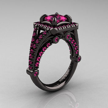 Modern Art Nouveau 14K Black Gold 1.23 Carat Princess Pink Sapphire Engagement Ring, Wedding Ring R336-14KBGPS