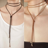 2016 New Arrival Boho Style Fashion Women Long Black Leather Rope Velvet Choker Necklace Women Statement Collier Bijoux F3919