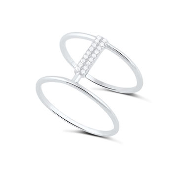 Sterling Silver Cz Wide Double Bar Ring  13mm
