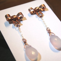 Free shipping - Absolutely Darling Pink Princess Copper Bow Tie Ribbon Earring Studs with Dangly Chain Rose Quartz Teardrop Bead