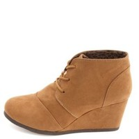 City Classified Lace-Up Low Wedge Booties - Chestnut