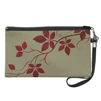 Pretty Red Autumn Leaves on the Vine Wristlet Purse