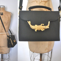 Gold Alligator Bag / black Handbag / vegan