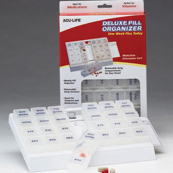 Deluxe Pill Organizer w/28 Com One Week Plus Today'