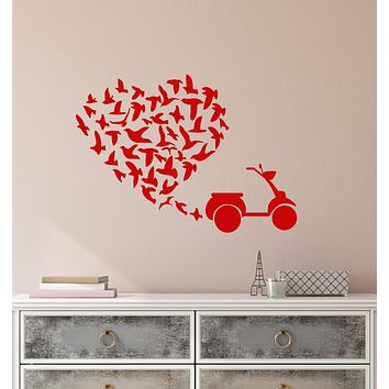 Vinyl Wall Decal Scooter Romantic Love Heart Flock Of Birds Stickers (3781ig)
