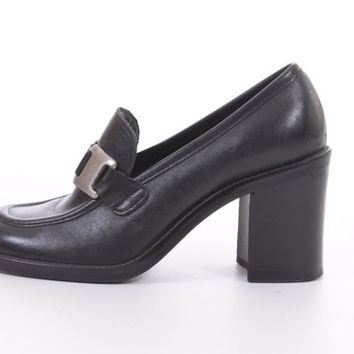 90s Black Leather Penny Loafers Vintage Nine West Slip On Shoes Preppy Goth Womens Size US 5.5 UK 3.5 EUR 36