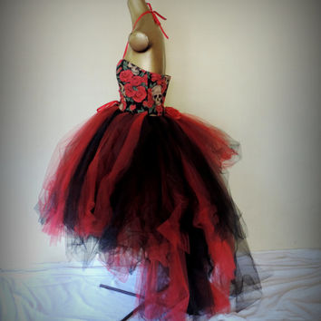 Adult tutu dress,skulls and roses dress, pirate dress, goth gothic wedding dress, red black,adult corset tutu dress, steampunk tutu dress