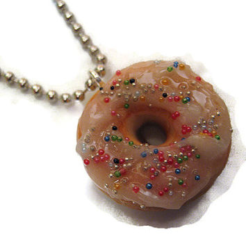 Polymer Clay Donut with Sprinkles Pendant Necklace Miniature Fake Food
