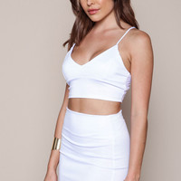 WHITE CAMI KNIT BUSTIER TOP