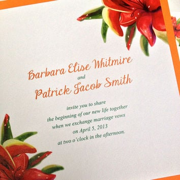 Signature Tropical Wedding Cotton Invitation, RSVP Card with Envelopes - Hand Painted Tropical Lilies | Set of 25 | Beach Wedding Invitation
